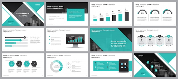 Green business presentation page layout design  template