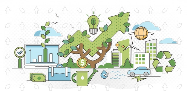 Green business and sustainable energy outline   illustration.