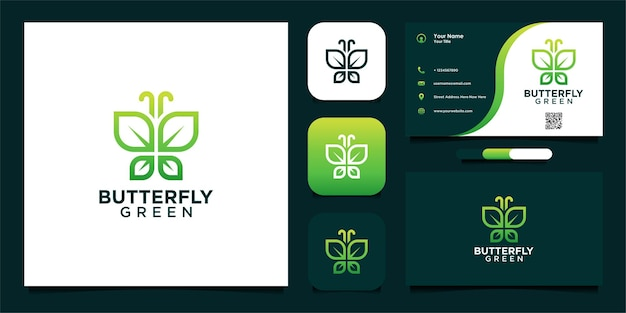Green butterfly logo design with leaves and business card