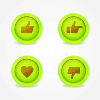 Green buttons with icons on them