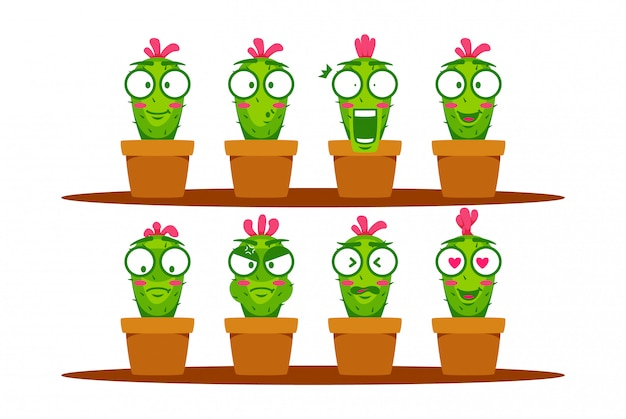 Green cactus cartoon mascot character smiley emoji expression set collection