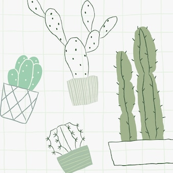 緑のサボテン落書き鉢植え観葉植物