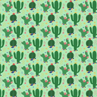 Green cactus plant pattern