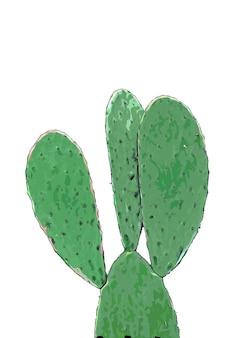 Зеленый кактус акварель