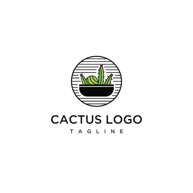Зеленый кактус с острыми шипами. минимальное вдохновение для логотипа