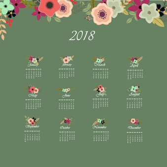Green calendar 2018 with floral design
