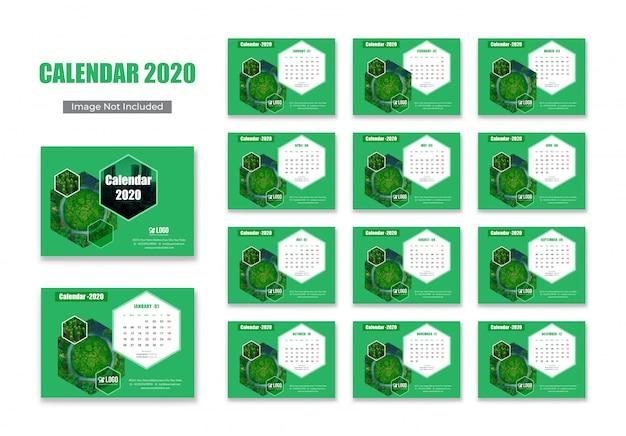 Green calendar 2020 template