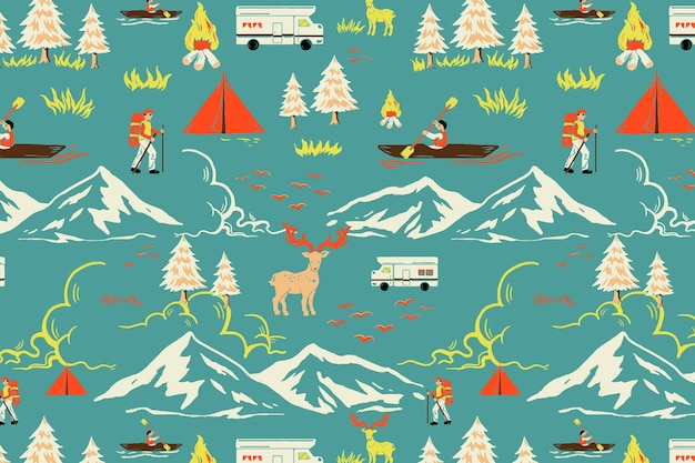 Green camping trip pattern vector with tourist cartoon illustration