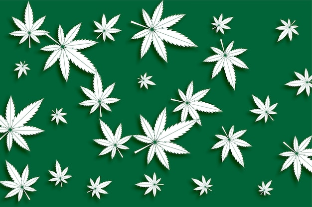 Green cannabis marijuana leaves seamless pattern