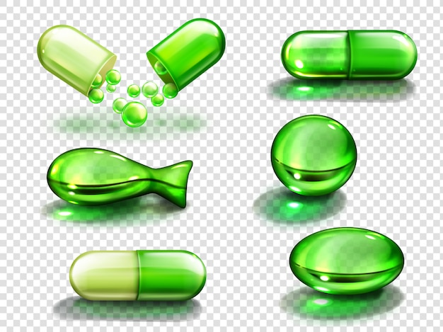 Green capsule with vitamin, collagen or medicine