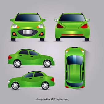 Green car in different views