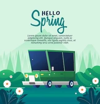 Green car in a refreshing spring garden
