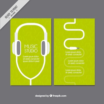 Green card of study music with headphones