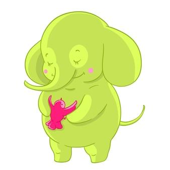 Green cartoon elephant hugs pink little bird. Friendship.