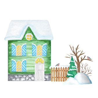 Green cartoon winter house with wooden fence and bullfinch bird couple, snowdrifts, christmas tree.