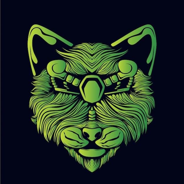 Иллюстрация головы зеленого кота
