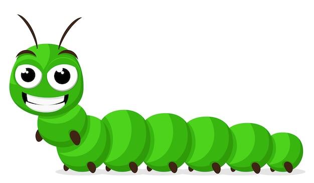 Green caterpillar smiling illustration