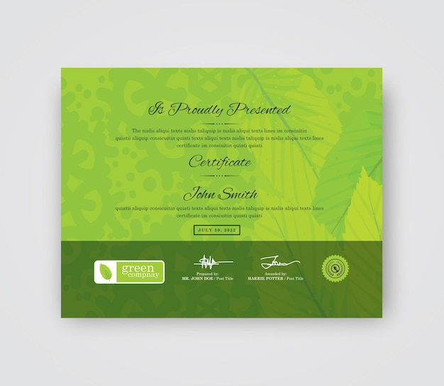 Green certificate design
