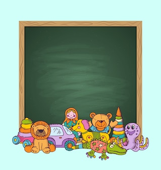 Green chalkboard  with place for text and pile of kid toys hand drawn and colored. toys for child and chalk board cartoon