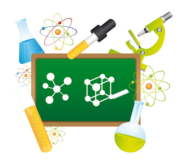Green chalkboard  with science elements  vector illustration