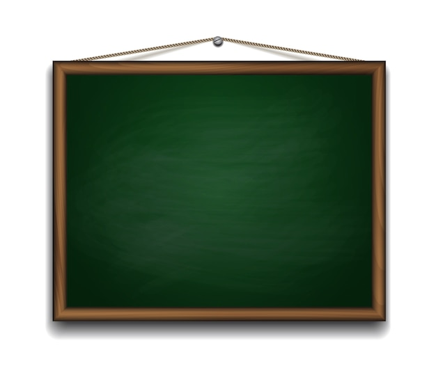 Green chalkboard in wooden frame. back to school background  illustration
