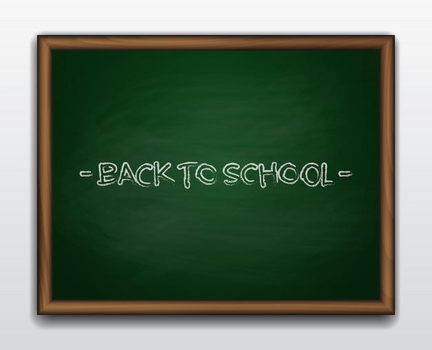 Green chalkboard in wooden frame. back to school
