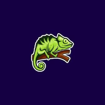 Green chameleon on branch illustration
