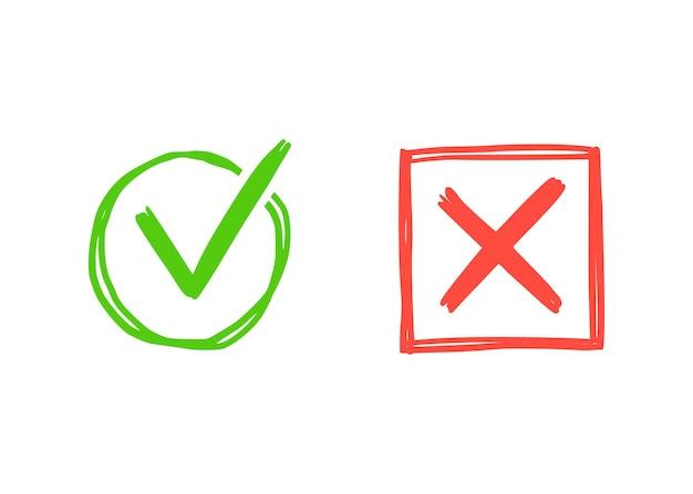녹색 체크와 적십자 표시. 손으로 그린 낙서 스케치 스타일. 투표, 예, 그려진 개념이 없습니다. 확인란, 사각형, 원 요소가 있는 십자 표시. 벡터 일러스트 레이 션.