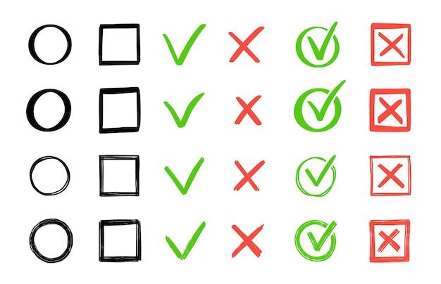 녹색 체크와 적십자 마크 세트. 손으로 그린 낙서 스케치 스타일. 투표, 예, 그려진 개념이 없습니다. 확인란, 사각형, 원 요소가 있는 십자 표시. 벡터 일러스트 레이 션.