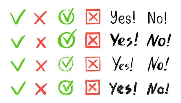 Установлены зеленая галочка и красный крест. рисованной каракули эскиз стиля. голосуйте, да, не нарисовано понятие. флажок, крестик с квадратом, круговой элемент. векторная иллюстрация.