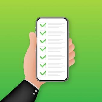 緑のチェックリストのスマートフォン。調査図。緑のダニ。スマートフォンのチェックリスト。顧客サービス。