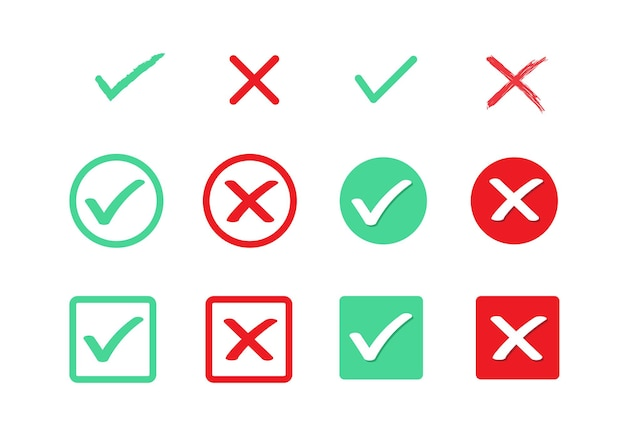 緑のチェックマークと赤の十字trueとfalseのフラットアイコン