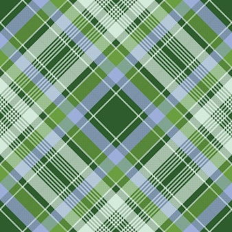 Green check plaid fabric texture pixel seamless pattern