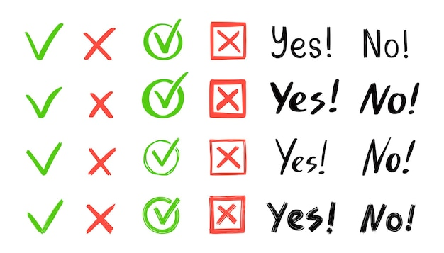 Green check and red cross mark set. hand drawn doodle sketch style. vote, yes, no drawn concept. checkbox, cross mark with square, circle element. vector illustration.