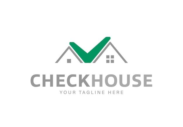 家を形成した緑のチェックサインシンプルなロゴデザインテンプレート