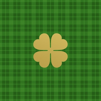 Green checkered pattern with clover leaf.  illustration