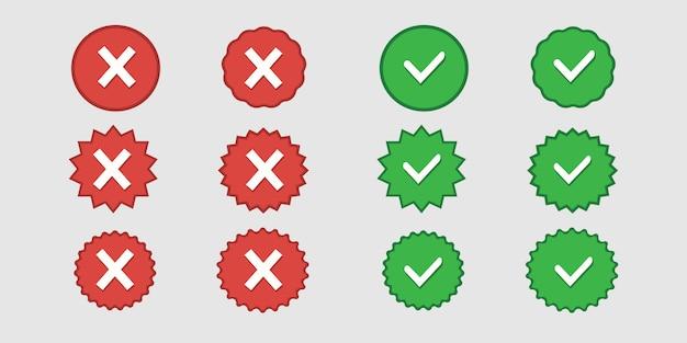 緑のチェックリストが承認され、赤のコレクションwebボタンuiデザインが拒否されました