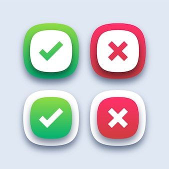 Green checkmark and red cross icons