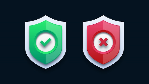 Green checkmark and red cross on shield