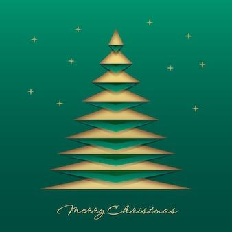 Зеленая рождественская открытка в бумажном стиле