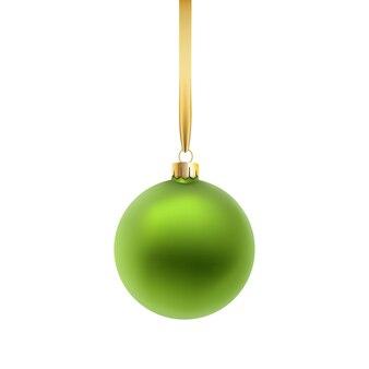 緑のクリスマスボール、白い背景で隔離。