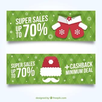 偉大なオファーとグリーンクリスマスバナー