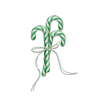 Green christmas candy canes with green ribbon, christmas or new year design element.
