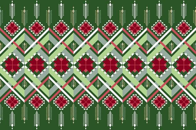 グリーンクリスマスカラフルなヴィンテージエスニック幾何学的な東洋のシームレスな伝統的なパターン。背景、カーペット、壁紙の背景、衣類、ラッピング、バティック、ファブリックのデザイン。刺繡スタイル。ベクター。