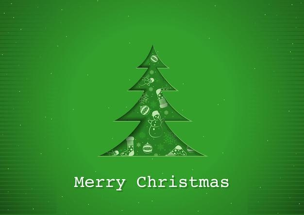Зеленая рождественская открытка с абстрактной рождественской елкой с эффектом вырезания из бумаги