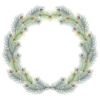 Green christmas pine wreath. blue spruce christmas wreath.