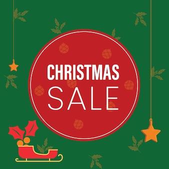 緑のクリスマスセールポスターベクトル