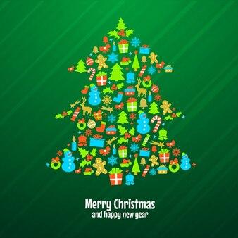 要素を持つクリスマスツリー