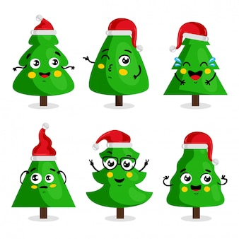 Green christmas tree cartoon character, kawaii style