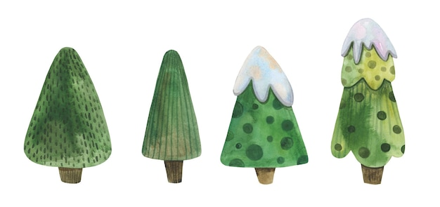 Green christmas tree hand drawn in watercolor set.